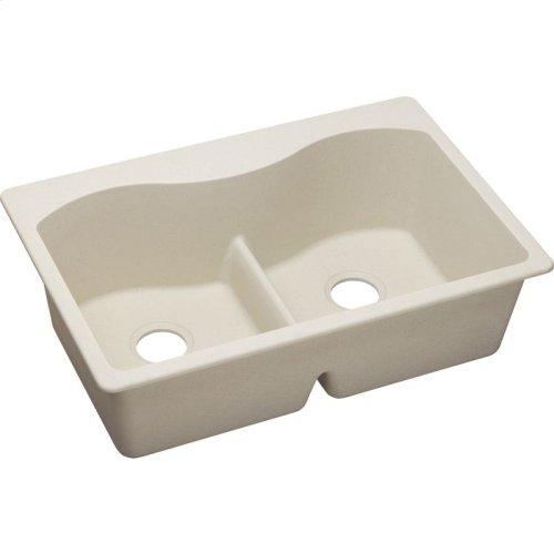 """Elkay Quartz Classic 33"""" x 22"""" x 9-1/2"""", Equal Double Bowl Drop-in Sink with Aqua Divide, Bisque"""
