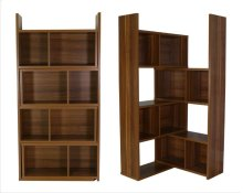 - Five tier extendable bookcase finished in light walnut- Constructed with MDF, particle board, and engineered veneer- Extend and rotate to accommodate your needs- Also available in cappuccino (#801815)