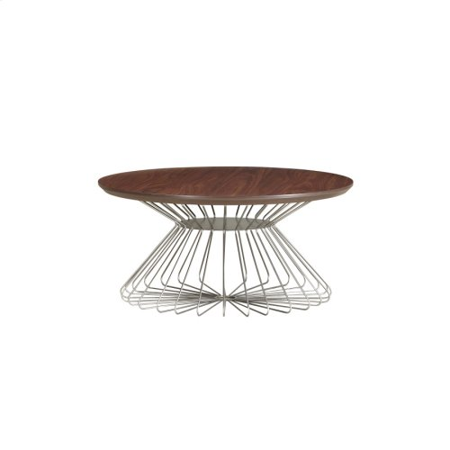 Round Cocktail Table-wood Top-metal Base