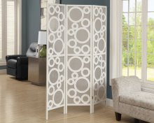 "FOLDING SCREEN - 3 PANEL / WHITE FRAME "" BUBBLE DESIGN """