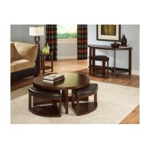 Round Cocktail Table With Four Ottomans