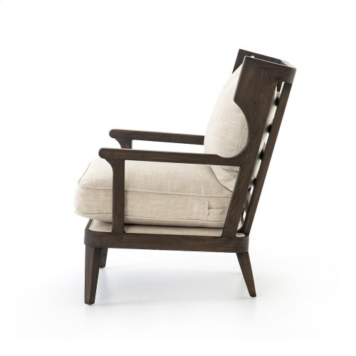 Cambric Ivory Cover Burnt Oak Finish Lennon Dining Chair