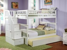 Columbia Staircase Bunk Bed Full over Full with Urban Trundle Bed in White