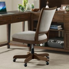 Vogue - Upholstered Desk Chair - Plymouth Brown Oak Finish