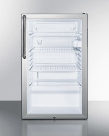 """Commercially Listed 20"""" Wide Glass Door All-refrigerator for Freestanding Use, Auto Defrost With A Lock, White Cabinet, and Pro Towel Bar Handle"""