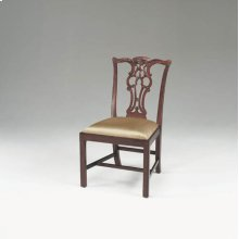 CARVED REGENCY MAHOGANY FINISH CHIPPENDALE STRAIGHT LEG SIDE CHAIR, NEUTRAL UPHOLSTERY