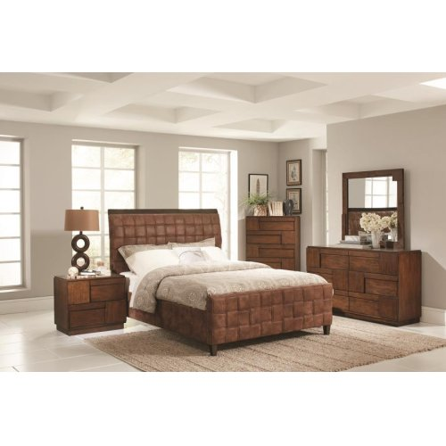 Gallagher Brown Microfiber Upholstered Queen Bed