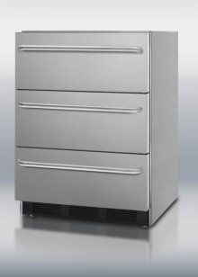 Built-in three-drawer stainless steel refrigerator with automatic defrost