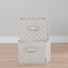 Canvas Baskets, 2-Pack - Beige, Diamond Print