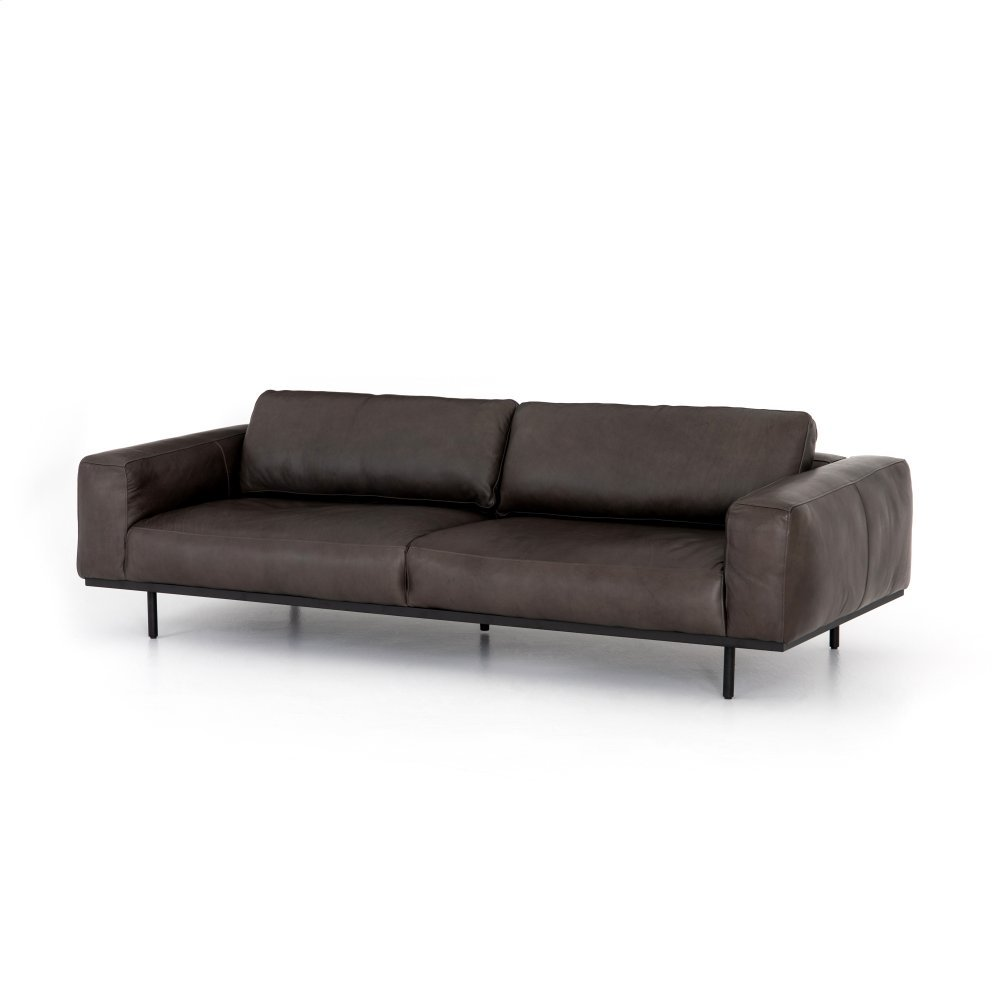 Pure Graphite Cover Landy Leather Sofa-97""