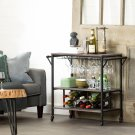 Bar Cart with Wine Bottle Storage and Wine Glass Rack - Weathered Oak and Matte Black Product Image