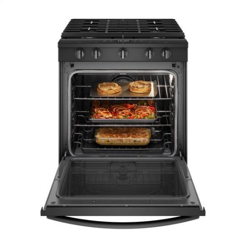Whirlpool® 5.8 Cu. Ft. Smart Slide-in Gas Range with EZ-2-Lift™ Hinged Cast-iron Grates - Black