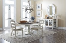 Castle Hill Round To Oval Dining Table With 4 Ladder Back Chairs