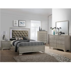 Lyssa Queen LED Headboard+footboard