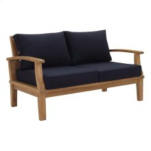 Marina Outdoor Patio Teak Loveseat in Natual Navy