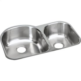 """Elkay Stainless Steel 31-1/4"""" x 20"""" x 8"""", Offset 60/40 Double Bowl Undermount Sink"""