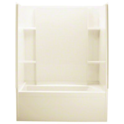 """Accord® Series 7115, 60"""" x 32"""" x 74"""" Bath/Shower with Age-In-Place Backers-Left-hand Drain - KOHLER Almond"""