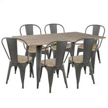 Oregon 7-piece Dining Set - Grey Metal, Brown Bamboo