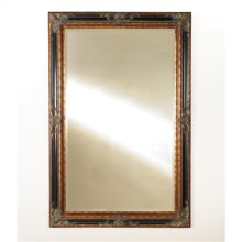 OVERSCALED EMPIRE MIRROR IN SO FT BLACK AND BURNISHED ANTIQUE D GOLD, BEVELED MIRROR