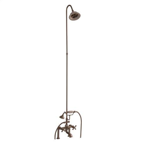 Tub/Shower Converto Unit - Elephant Spout, Riser, Showerhead, Cross Handles - Brushed Nickel
