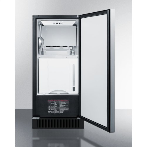 """15"""" Wide Built-in Undercounter Clear Icemaker With Internal Pump, Panel-ready Door, and Black Cabinet"""