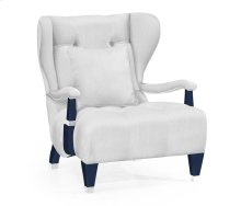 Modern Winged Antique Blue Oak Occasional Chair, Upholstered in COM