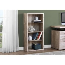 """BOOKCASE - 48""""H / TAUPE RECLAIMED WOOD-LOOK/ ADJ. SHELVES"""