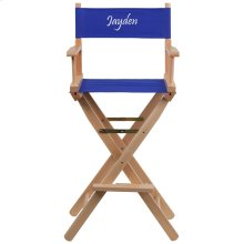 Embroidered Bar Height Directors Chair in Blue