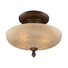 Restoration 4-Light Semi Flush in Golden Bronze with Amber Glass