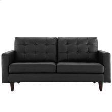Empress Bonded Leather Loveseat in Black