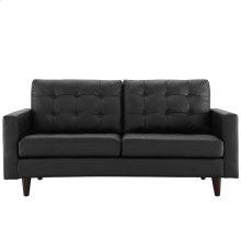 Empress Bonded Leather Loveseat in Black