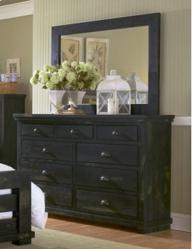 Mirror - Distressed Black Finish