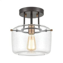 Jake 1-Light Semi Flush Mount in Oil Rubbed Bronze with Seedy Glass
