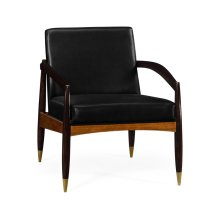 Contemporary Hyedua & Ebonised Occasional Chair, Upholstered in Black Leather