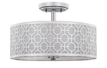 Vera Chain-link 3 Light 15.5-INCH Dia Chrome Flush Mount - Chrome Shade Color: Off-White