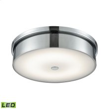 Towne 1-Light Round Flush Mount in Chrome with Opal Glass Diffuser - Integrated LED - Large
