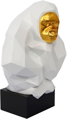 Pondering Ape Large Sculpture - White and Gold Product Image