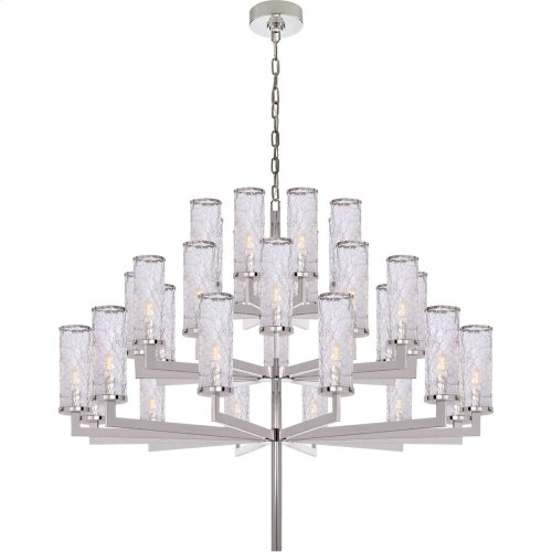 Visual Comfort KW5202PN-CRG Kelly Wearstler Liaison 32 Light 48 inch Polished Nickel Chandelier Ceiling Light, Kelly Wearstler, Triple-Tier, Crackle Glass