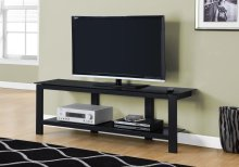 """TV STAND - 60""""L / BLACK METAL WITH BLACK TEMPERED GLASS"""