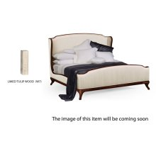 US King Louis XV Limed Tulip Bed, Upholstered in Chalk Silk