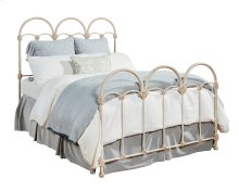 Antique White Rosette Iron Queen Bed