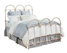 Antique White Rosette Iron Queen Bed