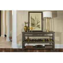 Bolt Sofa Table With Removable Wine Rack - Dark Graywash