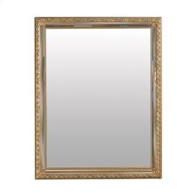 RECTANGULAR MIRROR WITH CLASSI CAL DETAIL EMBELLISHING THE MO LDING IN ANTIQUED GOLD