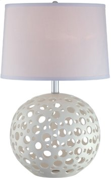 Table Lamp, White Ceramic/white Fabric Shade, E27 Cfl 23w