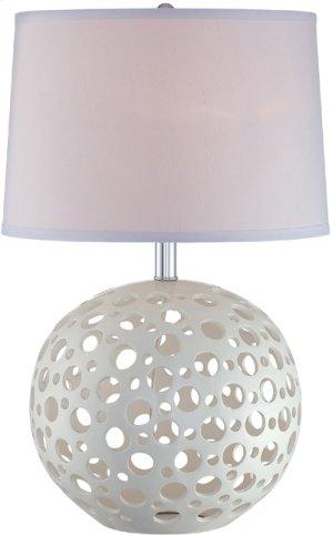 Table Lamp, White Ceramic/white Fabric Shade, E27 Cfl 23w