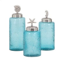 Aubrey Lidded Glass Decorative Canisters - Set of 3