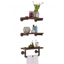 """Armen Living 20"""" Conrad Industrial Pine Wood Floating Wall Shelf in Gray and Walnut Finish"""