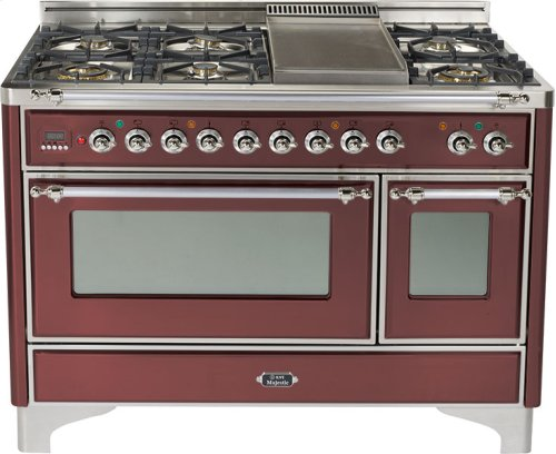 Burgundy with Chrome trim - Majestic 48-inch Range with Griddle