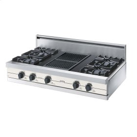 """Cotton White 42"""" Open Burner Rangetop - VGRT (42"""" wide, four burners 12"""" wide char-grill)"""